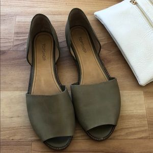 Top shop olive peeptoe flats, size 8